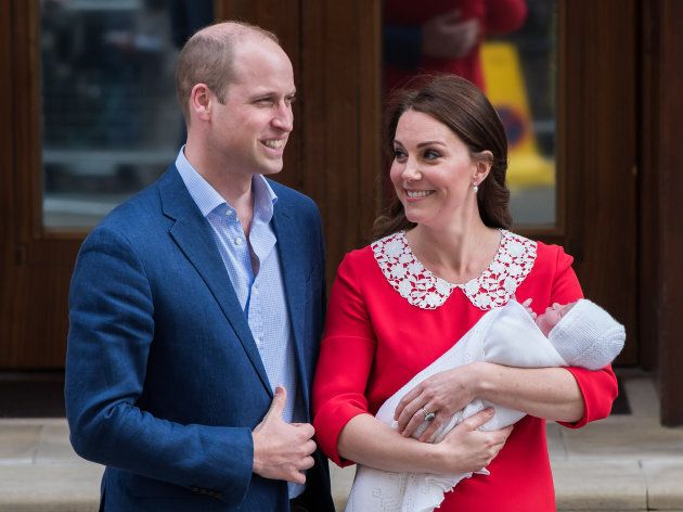 The royal couple and their newborn son, Prince Louis, depart St. Mary's Hospital on April 23, 2018.