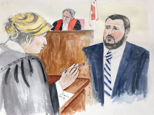 In this artist's sketch, Nicholas Butcher, is cross-examined by Crown lawyer Carla Ball in a Halifax...