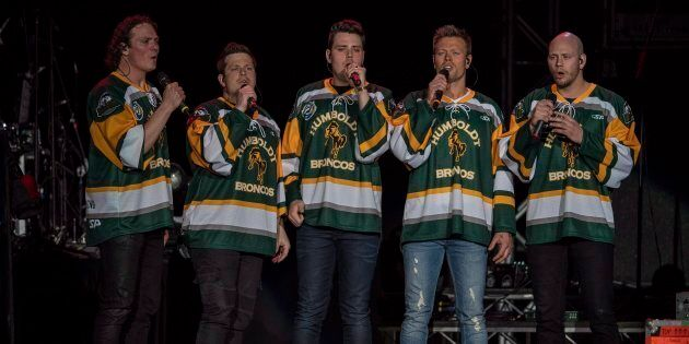 The Hunter Brothers perform the national anthem during the Country Thunder Humboldt Broncos tribute concert...
