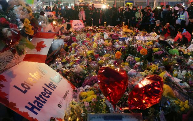 A sea of flowers decorates Mel Lastman Square in Toronto on