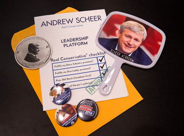 Contents of a media loot bag are displayed at the federal Liberal national convention in Halifax on April...