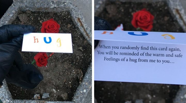 Nadine Weis and her four children, ages 18 months to 11 years, handed out these cards to 'whoever needed one,' at a vigil for the victims of a van attack in Toronto on April 29, 2018.