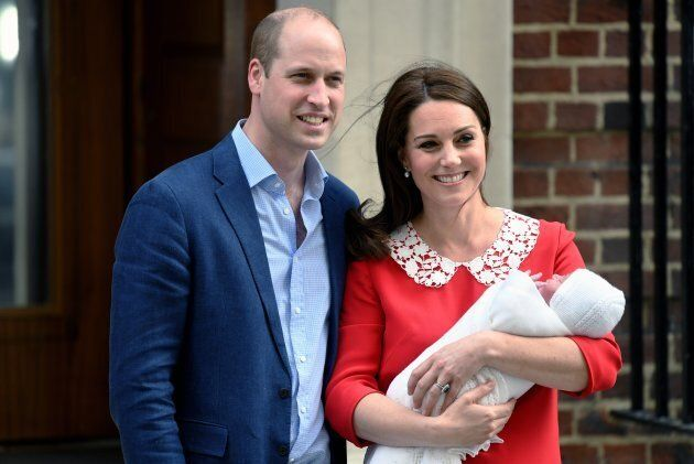 The Duke and Duchess of Cambridge leave St. Mary's Hospital with their son Prince Louis on April 23,