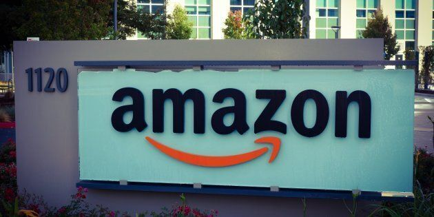 A sign outside the Amazon corporate office building in Sunnyvale, Calif. The company announced Monday...