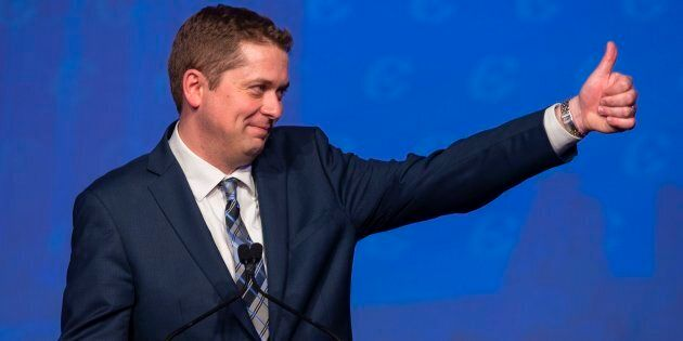 Andrew Scheer reacts after being the elected leader of the Conservative Party of Canada in Toronto on...