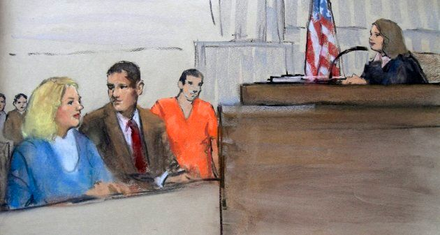 In this courtroom sketch, Tracey Lee Ann Foley, left, and her husband, Donald Heathfield, third from...