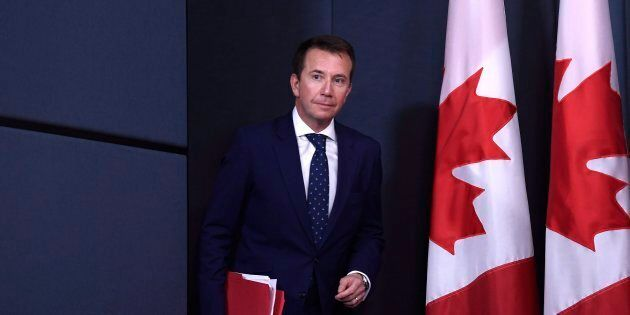Treasury Board President Scott Brison, acting minister of democratic reform, arrives for a press conference on efforts to modernize Canada's federal elections in Ottawa on April 30, 2018.