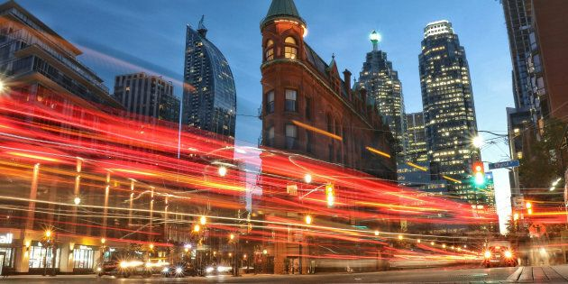 A long exposure photo of Downtown Toronto. The Canadian economy, which contracted to start the year,...
