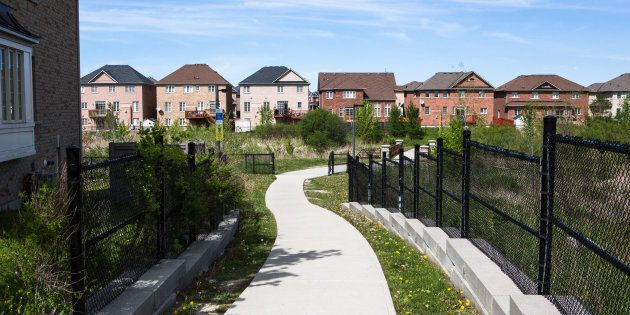 New houses stand in Brampton, Ont. on May 20,