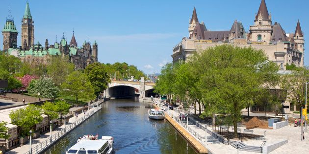 The Rideau Canal runs between Parliament Hill and the Fairmont Chateau Laurier in downtown Ottawa. The city is becoming Canada's new real estate juggernaut, data shows.