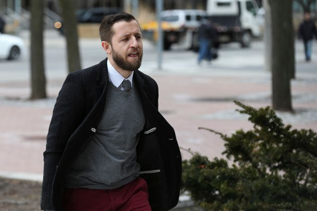 Vice News journalist Ben Makuch heading into court in Toronto in his ongoing trial.