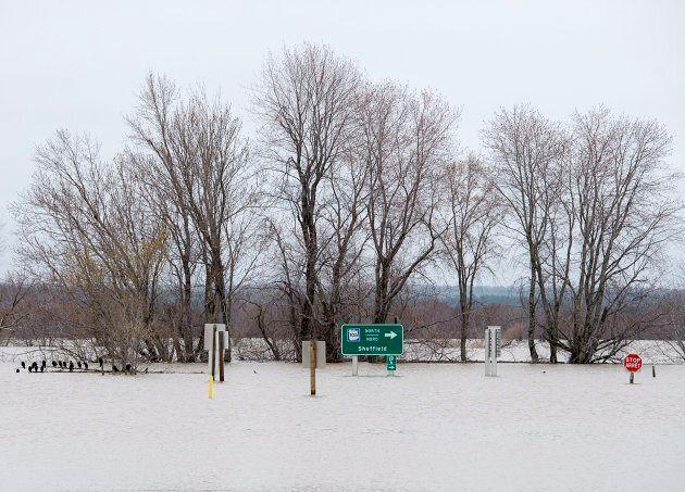 Highway 105 is underwater as the flood waters of the Saint John River flow through at Jemseg, N.B. on