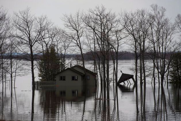 Homes and cottages are surrounded by rising floodwater from the Saint John River near Lakeville Corner,...