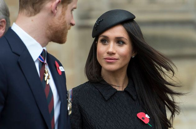 Meghan Markle and Prince Harry attend an Anzac Day service at Westminster Abbey on April 25, 2018 in