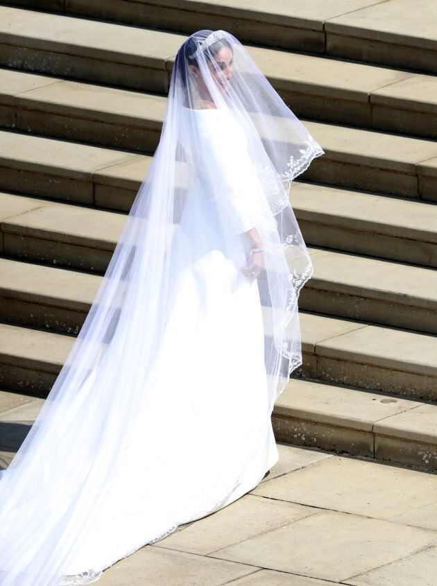 Meghan Markle arrives at St George's Chapel at Windsor Castle for her wedding to Prince
