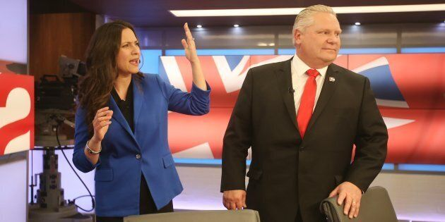 Former Progressive Conservative leadership rivals Tanya Granic Allen and Doug Ford talk after the PC...