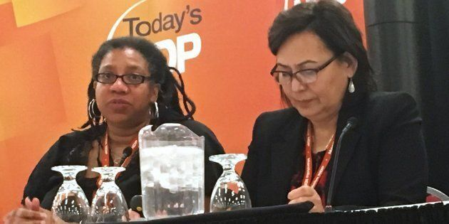 Kemlin Nembhard, left, and Sandra DeLaronde, commissioners who examined harassment in the Mantoba NDP...