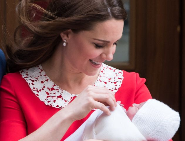 Catherine, Duchess of Cambridge departs the Lindo Wing with her newborn son, Prince Louis at St Mary's Hospital on April 23, 2018 in London, England.