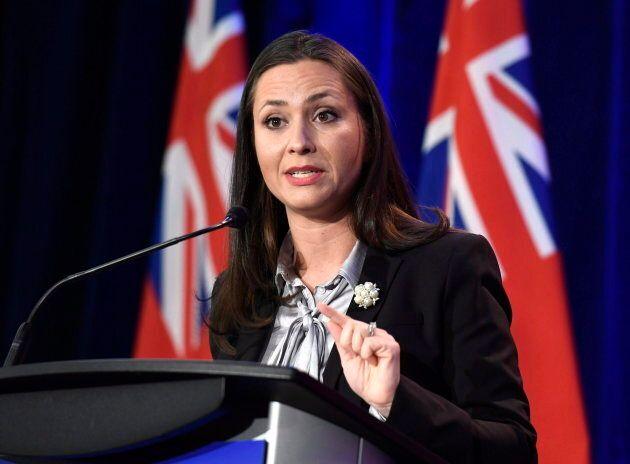 Ontario PC leadership candidate Tanya Granic Allen participates in a debate in Ottawa on Feb. 28,