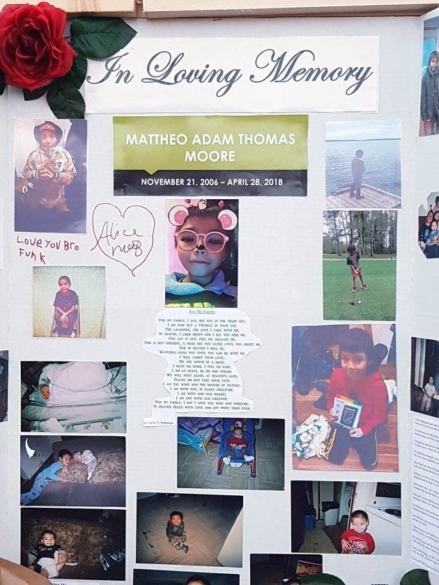 A vigil remembering Mattheo Moore-Spence, 11, is seen in Nelson House, Man. in this undated handout
