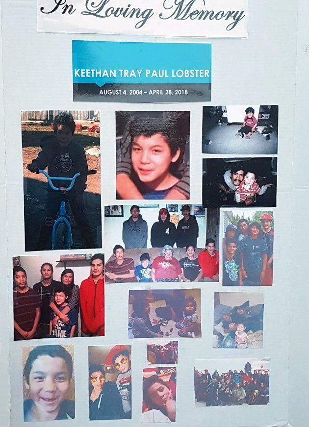 A vigil remembering Keethan Lobster, 11, is seen in Nelson House, Man. in this undated handout
