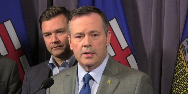 Alberta Opposition United Conservative Leader Jason Kenney speaks to reporters as Edmonton-Riverbend...