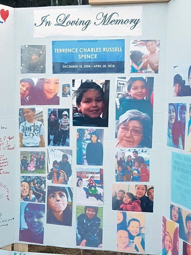 A vigil remembering Terrence Spence, 13, is seen in Nelson House, Man. in this undated handout