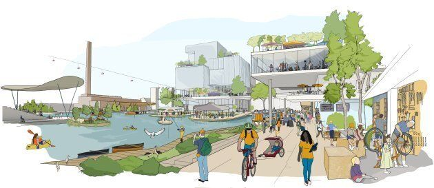 Concept art highlighting amenities at Sidewalk Labs' proposed smart city development.