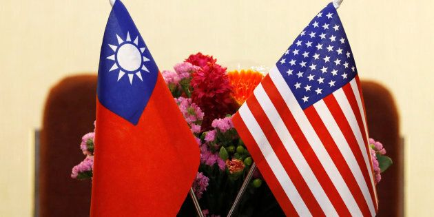 Flags of Taiwan and U.S. are placed for a meeting between U.S. House Foreign Affairs Committee Chairman...
