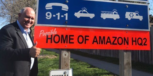 Mayor Frank Scarpitti of Markham, Ont. is pitching his city as the new home of Amazon
