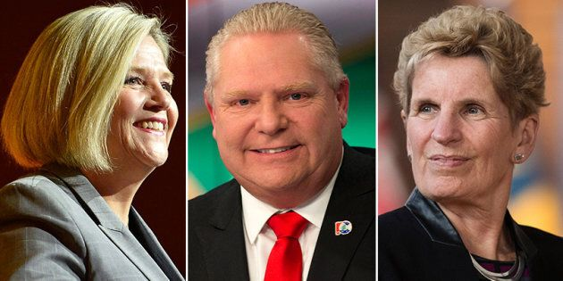L to R: Ontario NDP Leader Andrea Horwath, PC Leader Doug Ford and Liberal Leader Kathleen Wynne faced...
