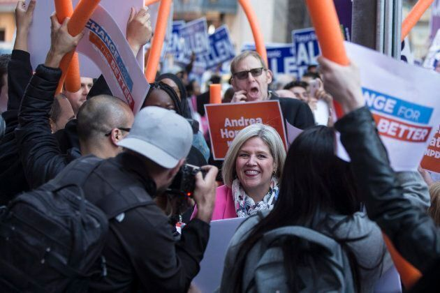 New Democratic Party Leader Andrea Horwath arrives at City TV Studios ahead of the first televised Ontario...