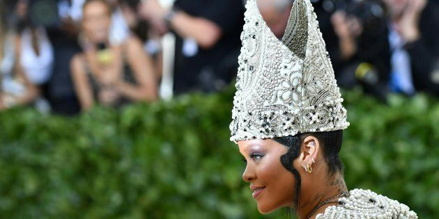 Rihanna arrives for the 2018 Met Gala on Monday at the Metropolitan Museum of Art in New York. The Gala...