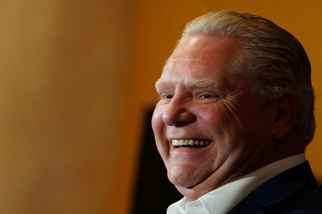 Progressive Conservative Party of Ontario leader, Doug Ford, reacts at a campaign rally in Oshawa, Ontario, on April 30, 2018.