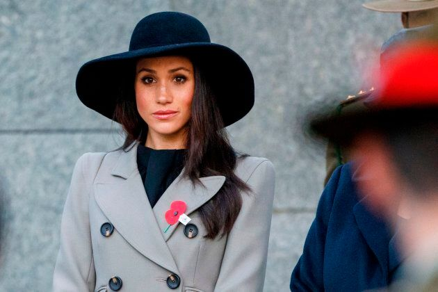 Meghan Markle attends an Anzac Day dawn service at Hyde Park Corner in London on April 25,