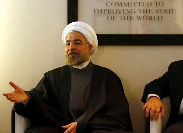 Iranian President Hassan Rouhani speaks at the annual meeting of the World Economic Forum in Davos on...