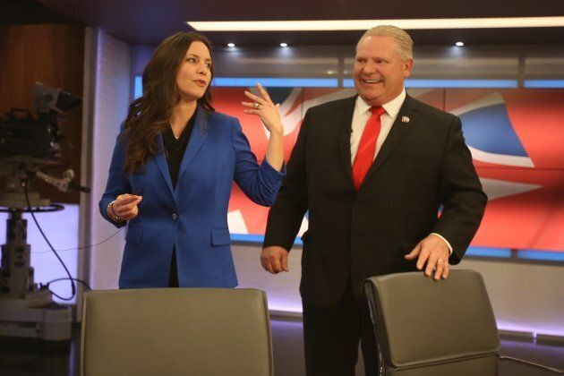 Tanya Granic Allen and Doug Ford talk after the PC leadership candidates debate at TVO studios in