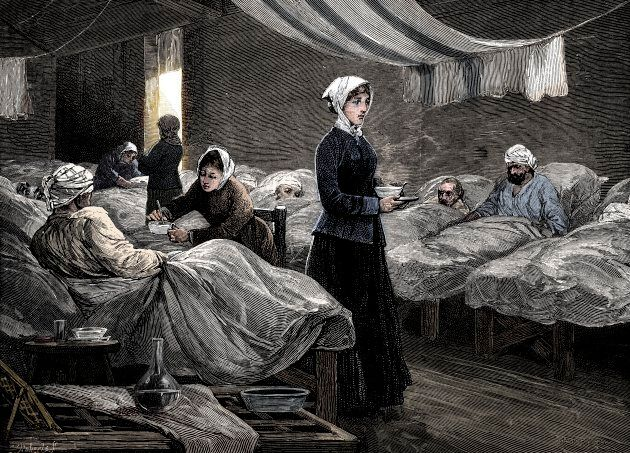 Florence Nightingale in the barrack hospital at Scutari, circa