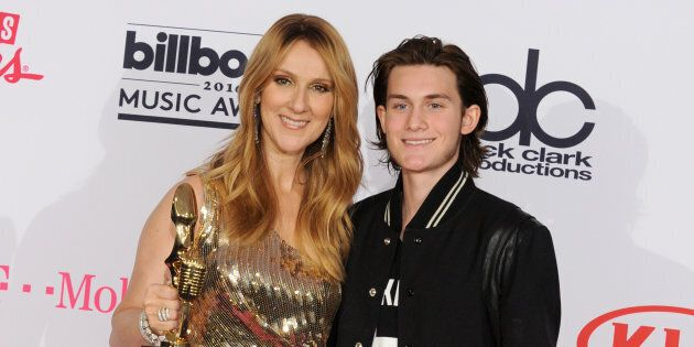 Céline Dion and son René-Charles Angélil pose at the 2016 Billboard Music Awards in Las