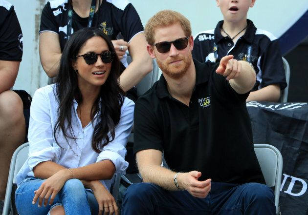 Prince Harry and Meghan Markle watch Wheelchair Tennis at the 2017 Invictus Games in