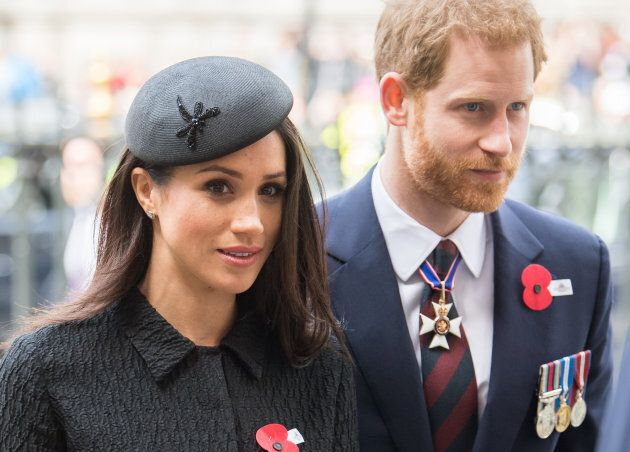 Prince Harry and Meghan Markle attend the Anzac Day service at Westminster Abbey on April 25, 2018 in