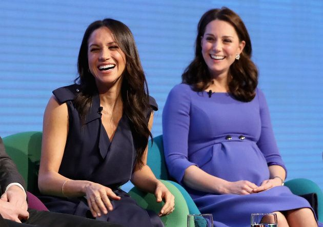 Meghan Markle and Catherine, Duchess of Cambridge attend the first annual Royal Foundation Forum.