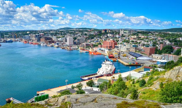 A panoramic view shows St John's Harbour in
