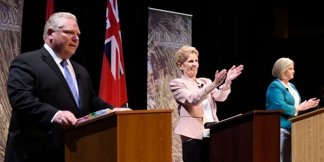 Ontario Progressive Conservative Leader Doug Ford, left to right, Ontario Liberal Leader Kathleen Wynne...