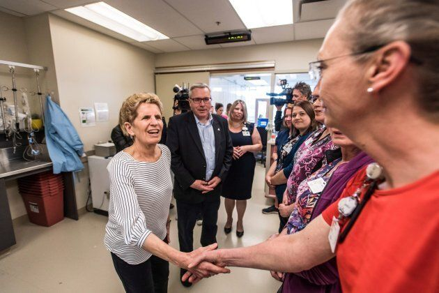 Ontario Premier Kathleen Wynne visits cancer care nurses at the Southlake Regional Health Centre in Newmarket...