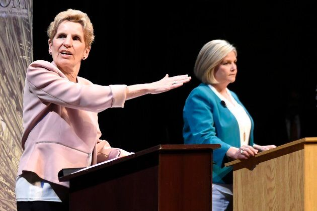 Ontario Liberal Leader Kathleen Wynne and Ontario NDP Leader Andrea Horwath take part in a leaders' debate...