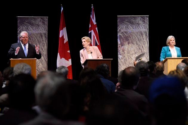 Ontario Progressive Conservative Leader Doug Ford, left to right, Liberal Leader Kathleen Wynne and NDP...