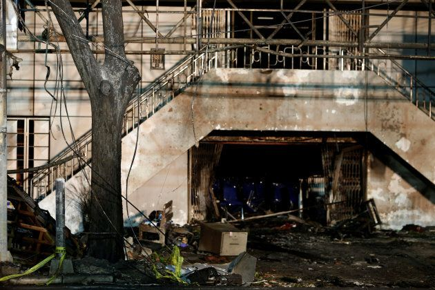 A burned tree is seen following a blast at the Pentecost Church Central Surabaya, in Surabaya, Indonesia...