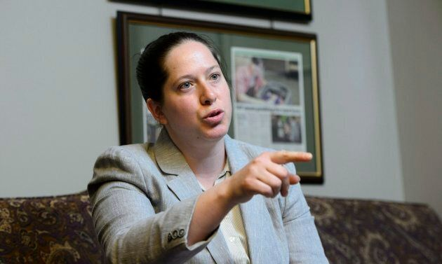 NDP MP Christine Moore takes part in an interview in her office in Ottawa on May 11,
