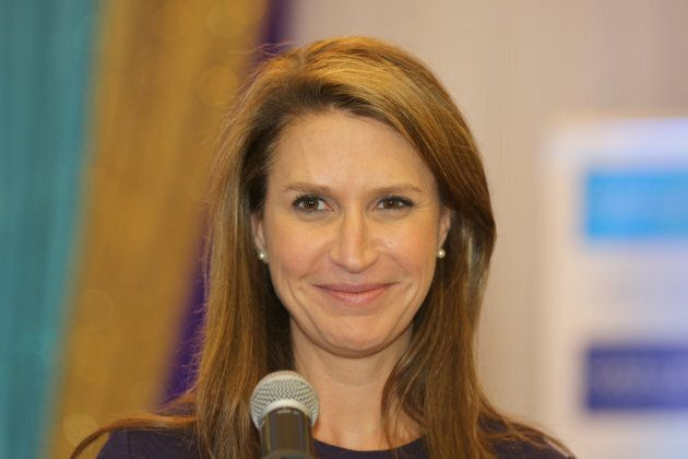 Caroline Mulroney speaks to members of the community during a political rally in Scarborough, Ont., on...